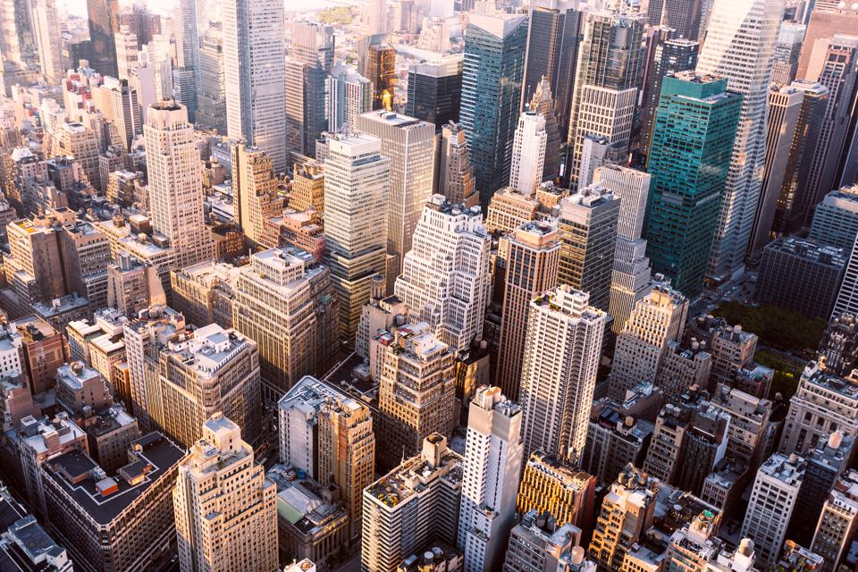 Aerial view of skyscrapers in Midtown Manhattan, New York City, USA