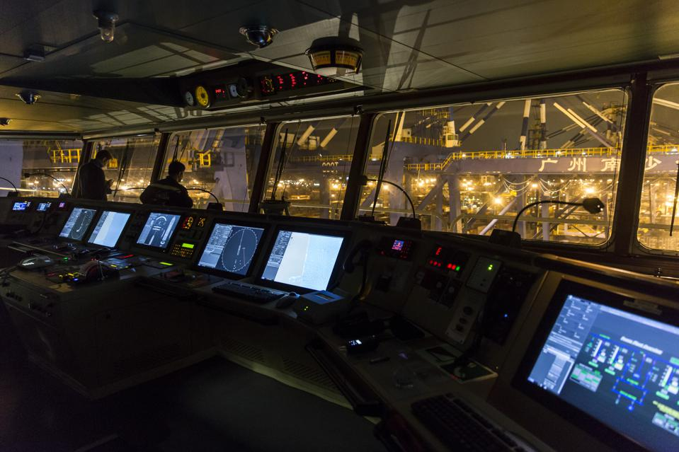 Controls on the bridge of the world's largest container ship, CMA CGM's Benjamin Franklin as it departs Guangzhou Port, China, on Monday, Feb. 1, 2016.