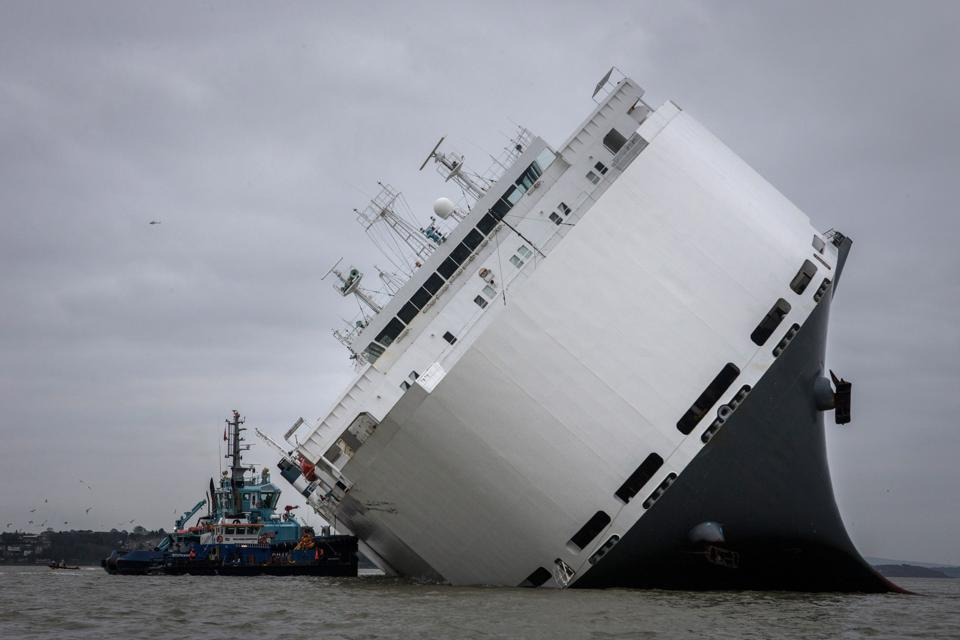 Crew Rescued As Ship Runs Aground In The Solent