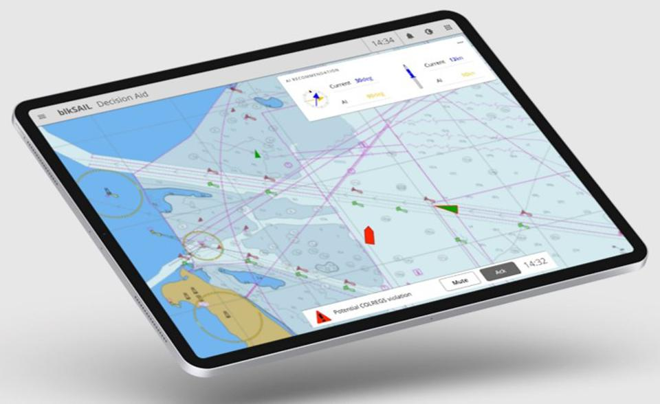 blkSAIL's mAIte system running on the iPad.  This smart AI companion should be able to assist with understanding complex maritime data in a bridge environment.