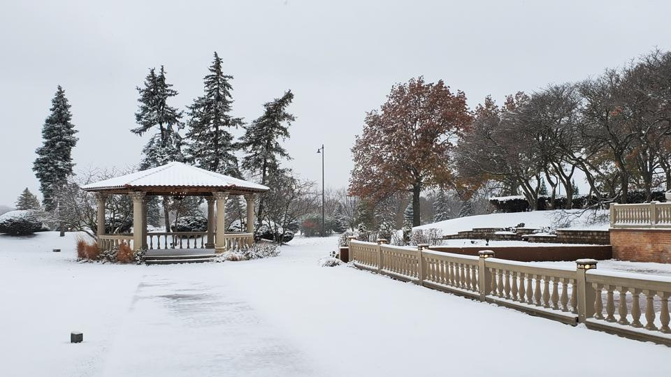 A snow covered gazebo at the Oak Brook resort.