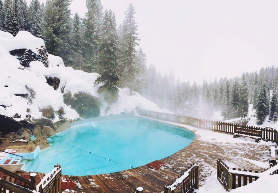 A winter dip into the Granite Hot Springs.
