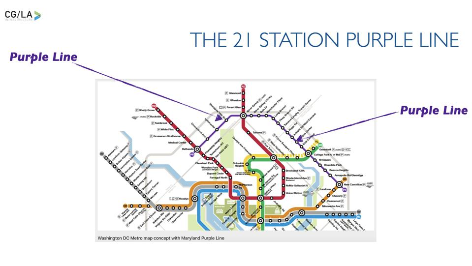 The Purple Line Course, and its 21 Stations