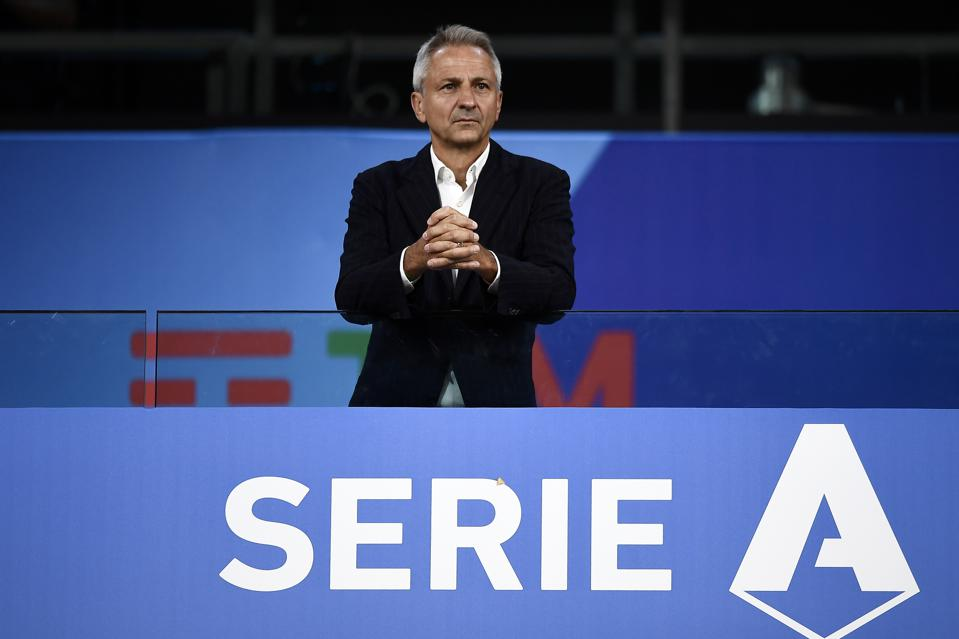 Paolo Dal Pino, president of Lega Serie A, looks on during...