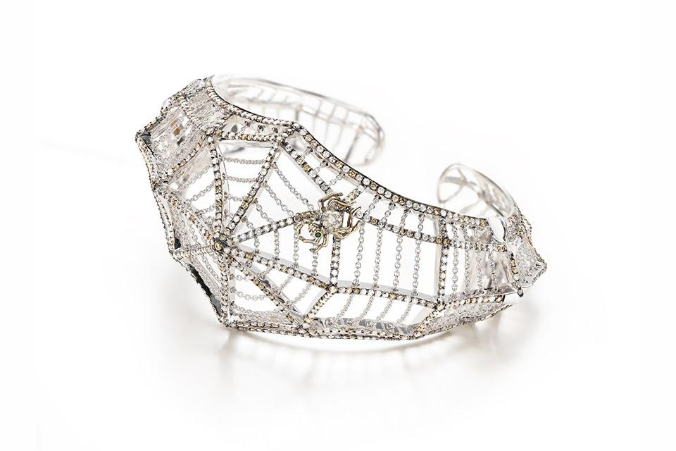 Bibi van der Velden Cobweb bracelet in 18K white and rose gold with white diamonds, $55,990, auverture.com