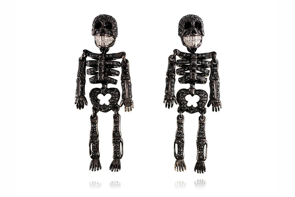 Lydia Courteille Skeleton earrings in 18k gold with black and white diamonds, price on request, lydiacourteille.com