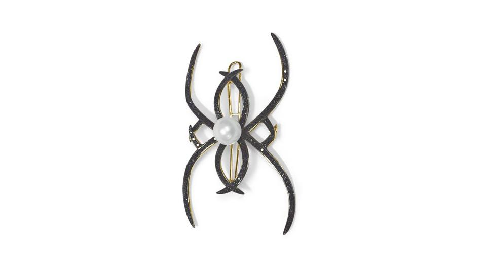 Ana Khouri Arachnid headpiece with black diamond and a white South Sea pearl, $19,100, anakhouri.com
