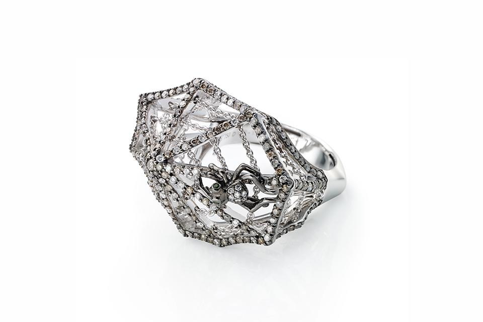 Bibi van der Velden Cobweb ring in 18K white gold with diamonds, price on request, bibivandervelden.com
