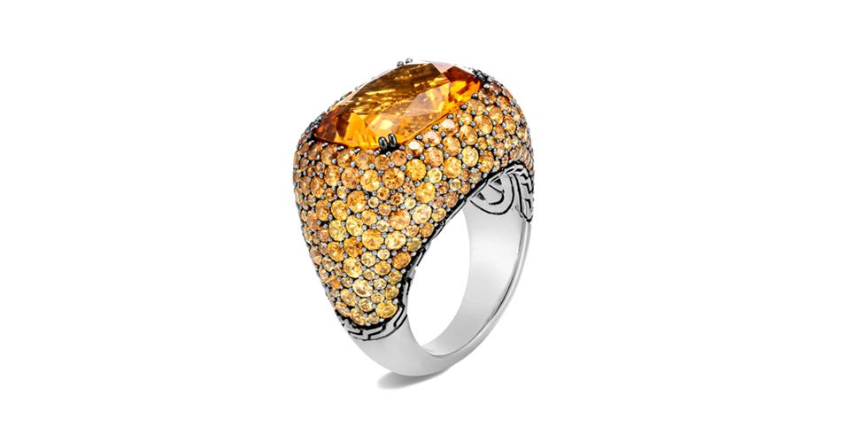John Hardy Cahaya ring in sterling silver with citrine, orange sapphire, and yellow sapphire, $4,800, johnhardy.com