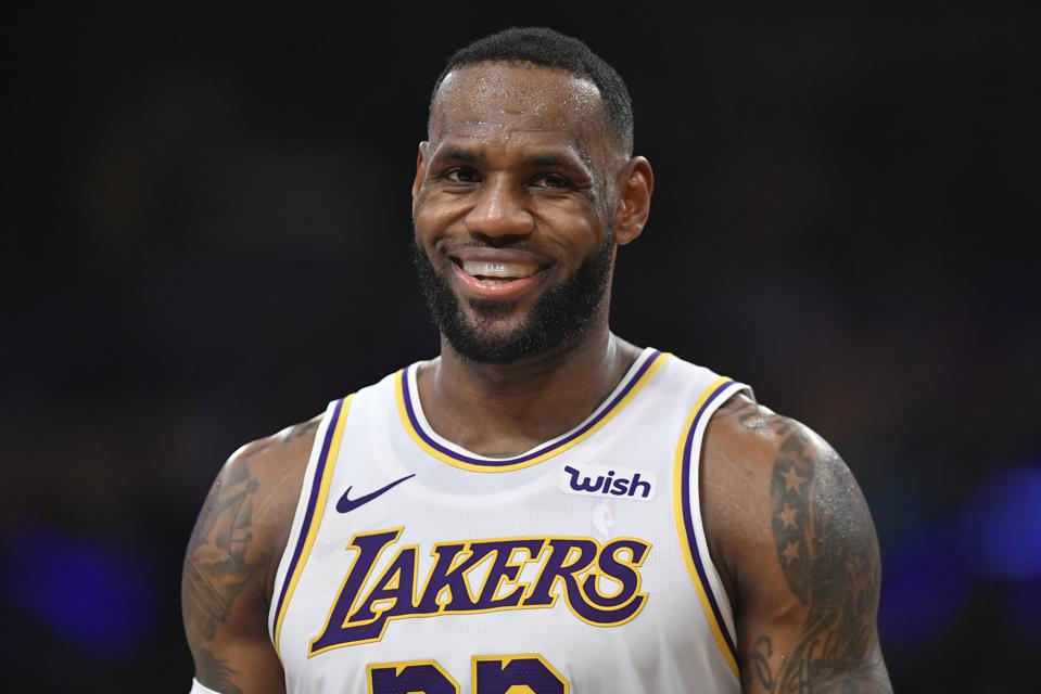 LeBron James during a match between the Phoenix Suns and Los Angeles Lakers