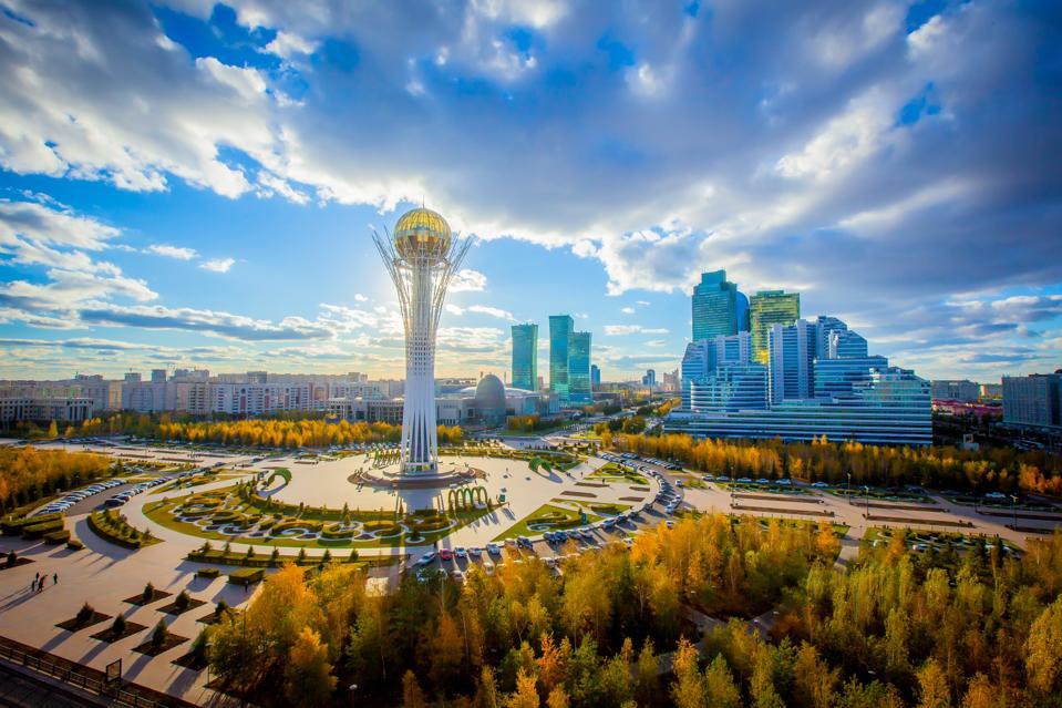 Astana, Nur-Sultan, Kazakhstan. Center of the city, skyscraper, view on Baiterek