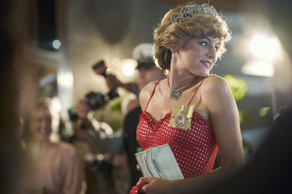 Emma Corrin as Lady Diana Spencer in the fourth season of 'The Crown' as she meets and then marries Prince Charles.