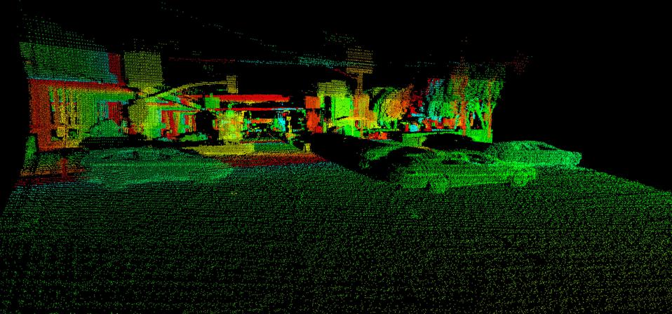 An image from AEye's long-range, software-definable LiDAR system. The technology can see other vehicles at a distance of more than 300 meters and pedestrians at more than 200 meters. Continental AG is investing it AEye to upgrade its autonomous vehicle capability for larger commercial vehicles.