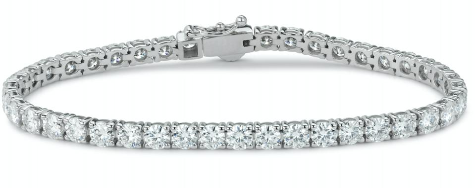 Forever One 9.89CTW Round Near-Colorless Moissanite Tennis Bracelet in 14K White Gold - 7 INCHES
