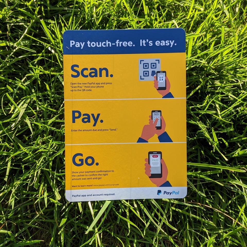 Paypal QR Code Instruction Card for Merchants