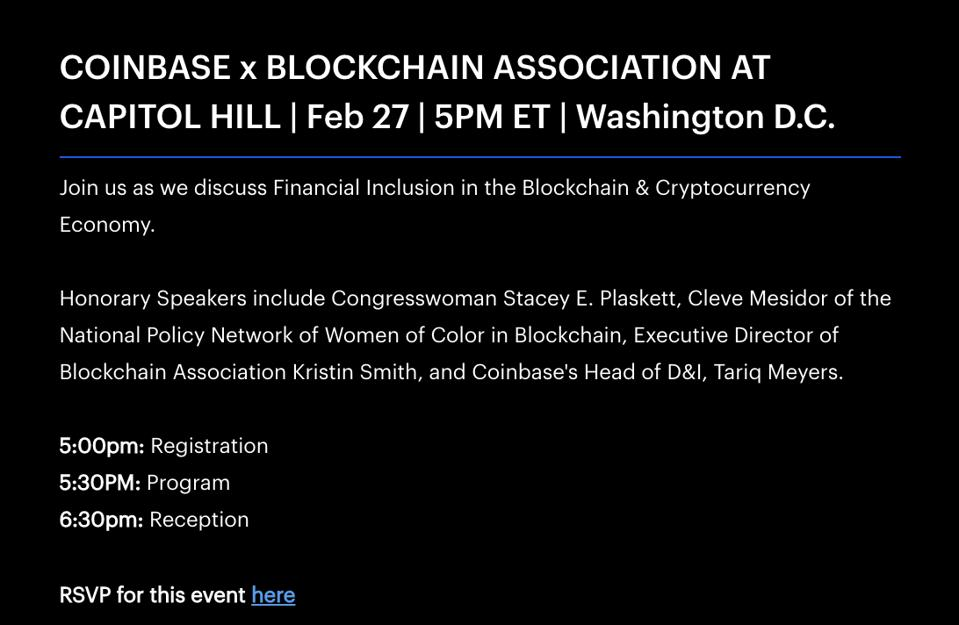Coinbase event during Black History Month on Capitol Hill.