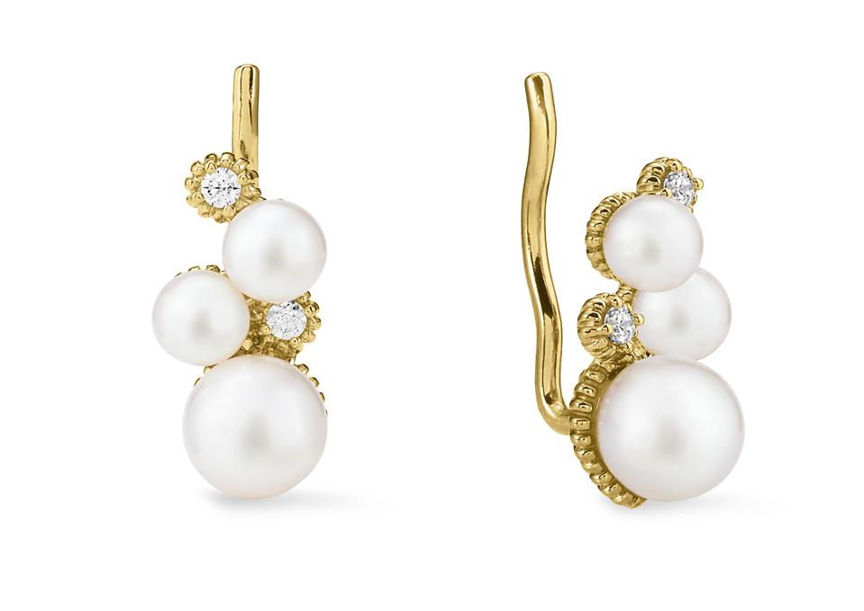 18K Gold Ear Climbers with Freshwater Pearls and Diamonds by Judith Ripka