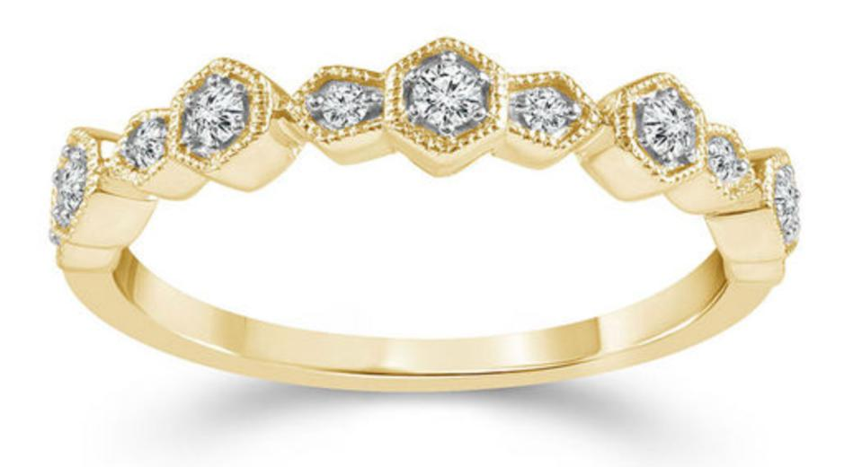 1/6 CT. T.W. Diamond Alternating Art Deco Vintage-Style Stackable Band in 10K Gold available at zales.com