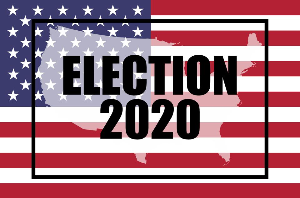 Election, 2020 concept. The American flag and moving text - ELECTION 2020.
