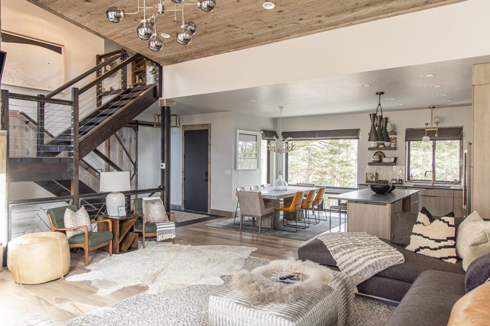 interior of luxurious cabin in mountains