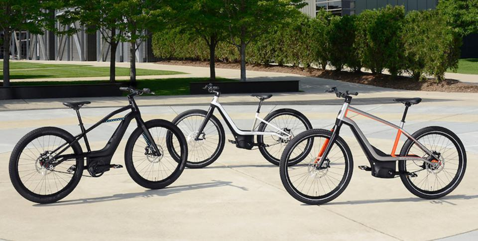 Three Harley-Davidson electric bicycle prototypes