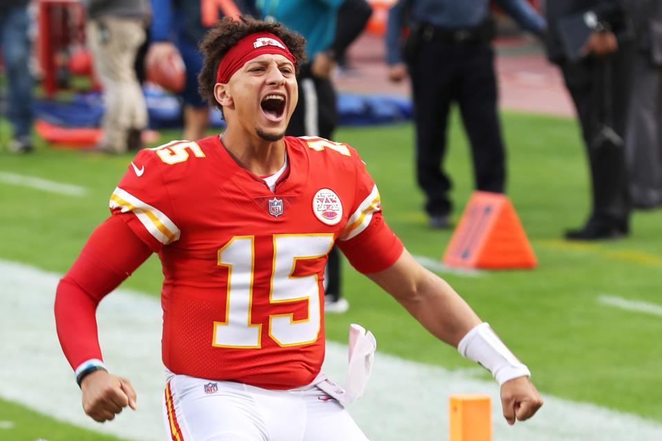 Patrick Mahomes of the Kansas City Chiefs is announced before the game against the New England Patriots at Arrowhead Stadium on October 05, 2020.