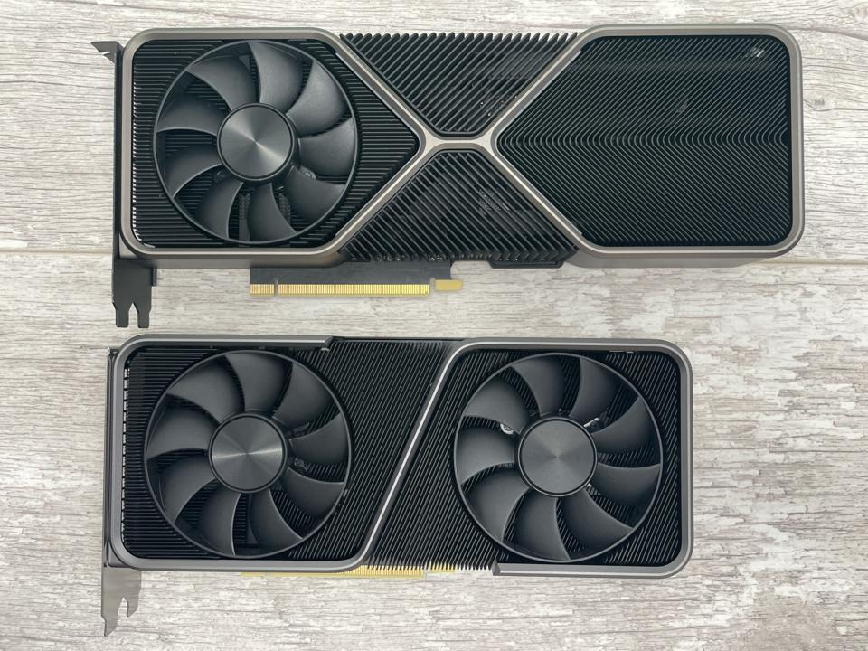 Nvidia's RTX 3070 retails for $499 and is smaller and less power hungry than the RTX 3080 (above)