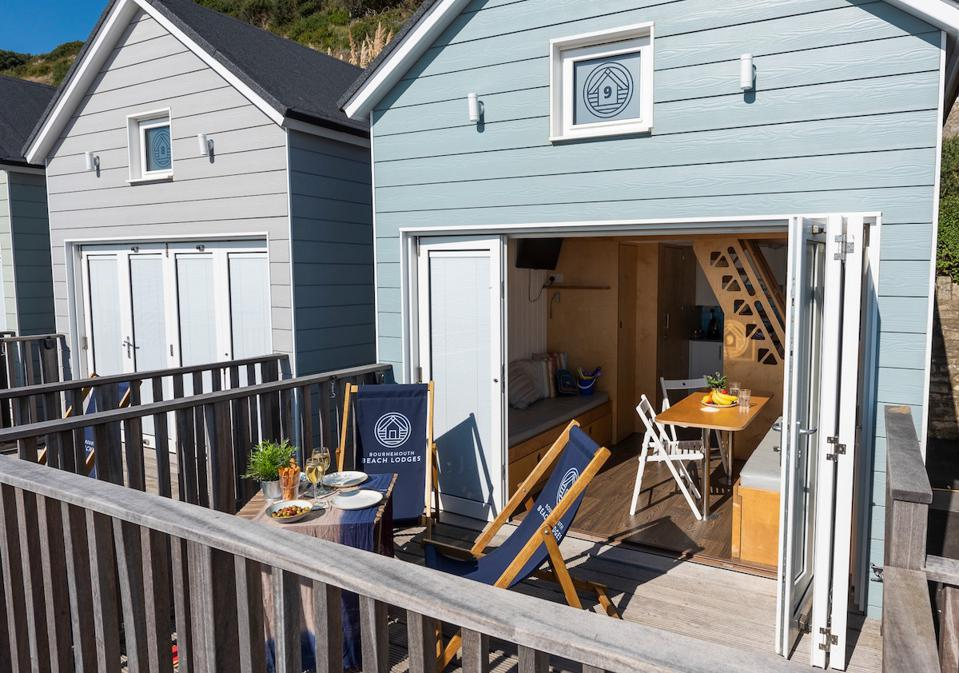 beach hut, chairs and table