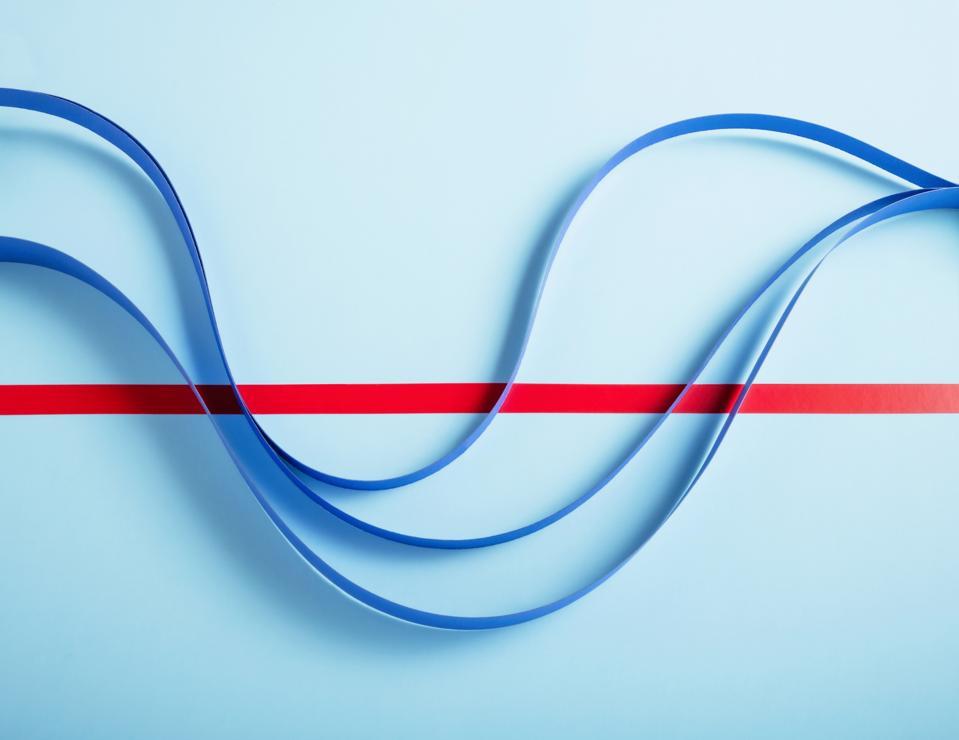 Blue paper line graph