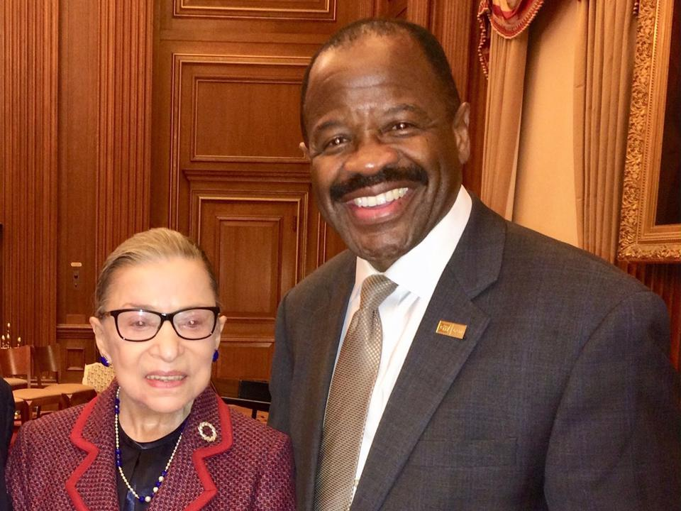 Justice Ginsburg posed with Blake Morant