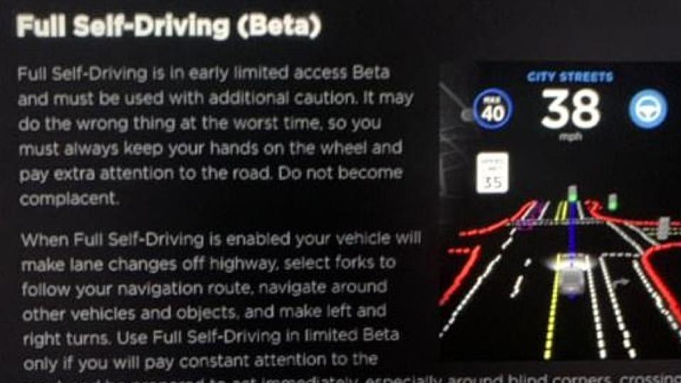 Screen in a Tesla vehicle showing the Tesla Full Self Driving (Beta) feature
