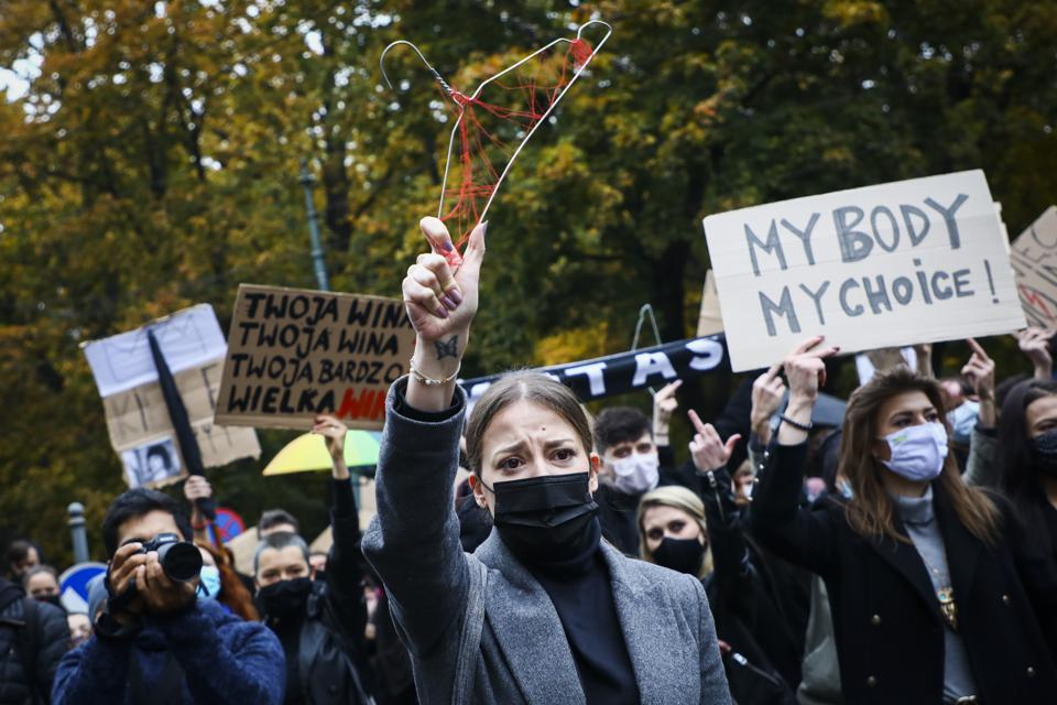 Women Protest Against Banning Legal Abortions In Poland