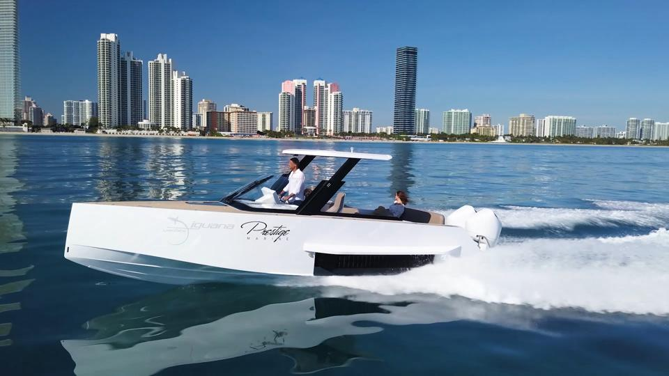 Amphibious Iguana boat on the water in Miami