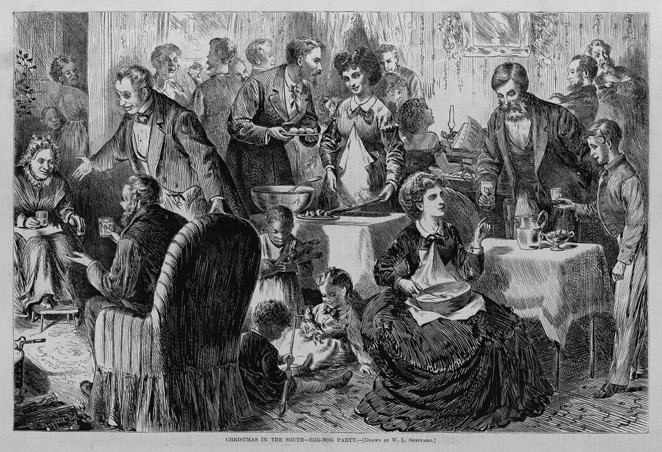 Christmas in the south - egg-nog party. Drawn by W. L. Sheppard.