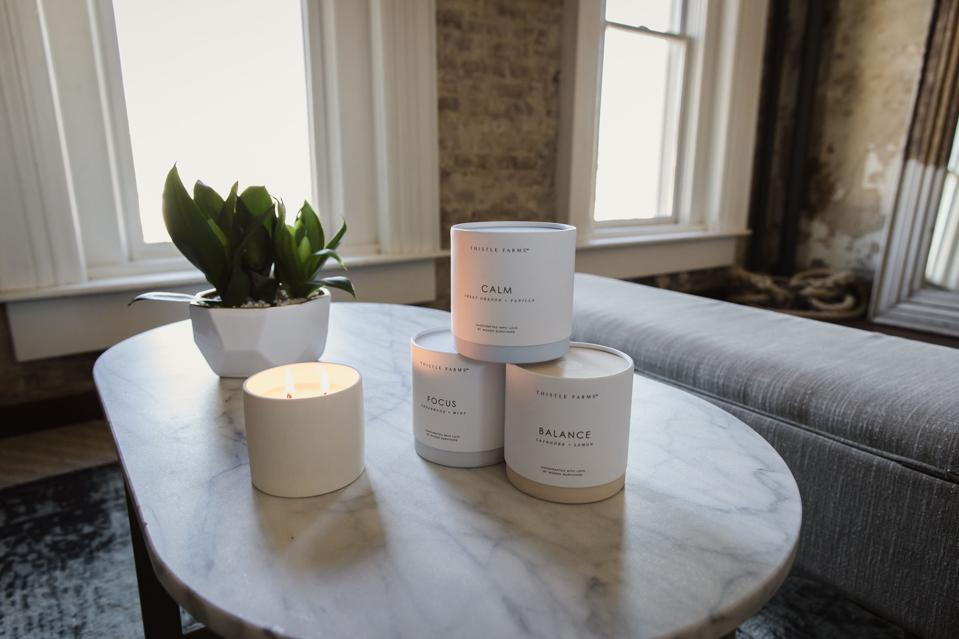 Thistle Farms' range of Healing Collection candles.