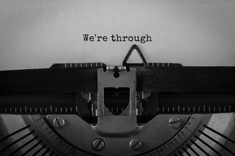 Text We're through typed on retro typewriter