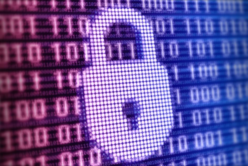 Colorful digital lock sign on binaric background