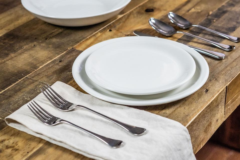white plate, tableware, flatware, utensils