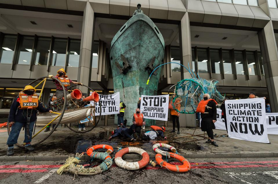 19 Oct: Protestors from Ocean Rebellion outside the IMO last week on arcane environmental and shipping laws that are not deterring pollution events.