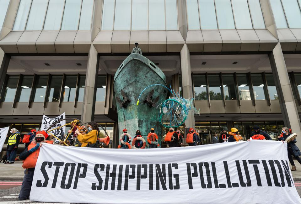 19 Oct 2020: new protest group, Ocean Rebellion, hold a demonstration outside London-based UN shipping agency the IMO that broke Paris Climate Agreement rules this year in rules governing global shipping