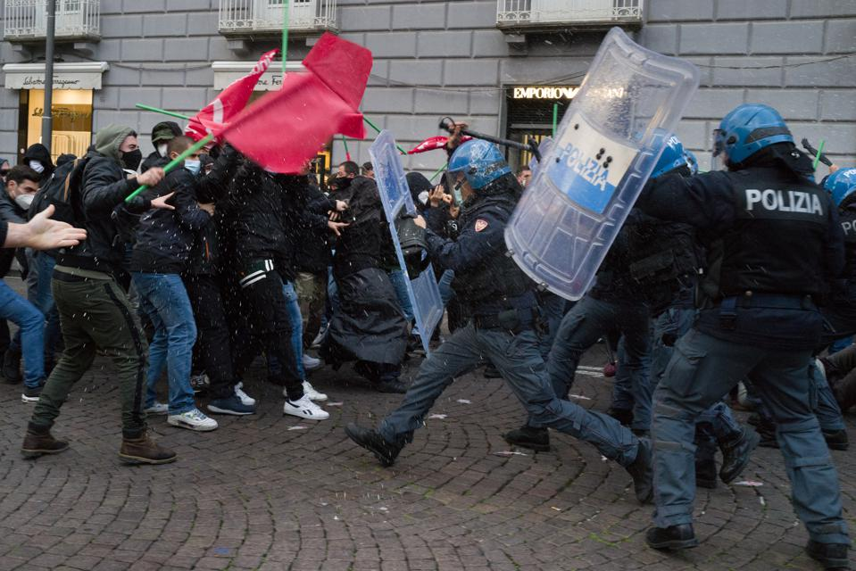 Street Protest In Naples Against the COVID-19 Lockdown