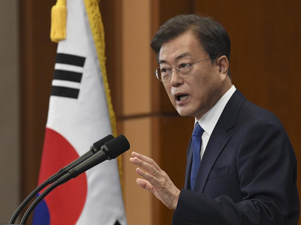 South Korean President Moon Speaks During Inauguration Anniversary