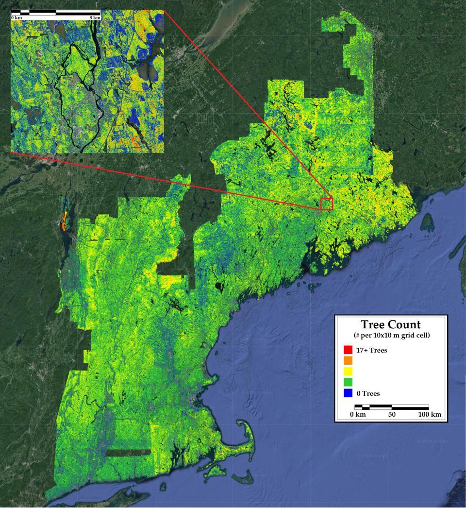 Satellite image of New England.