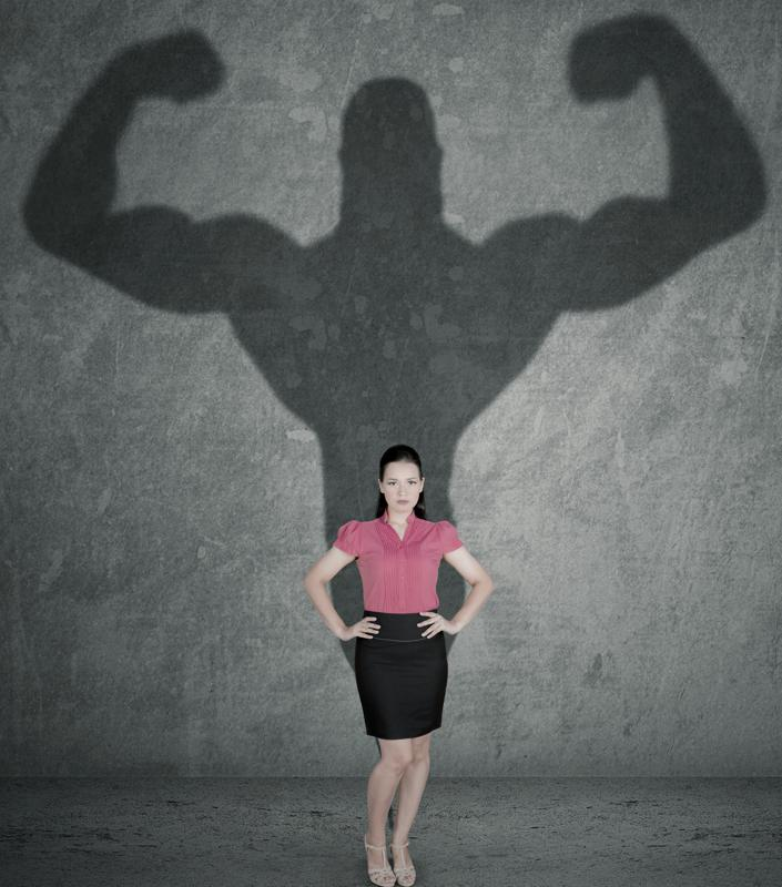 Female entrepreneur with her strong shadow