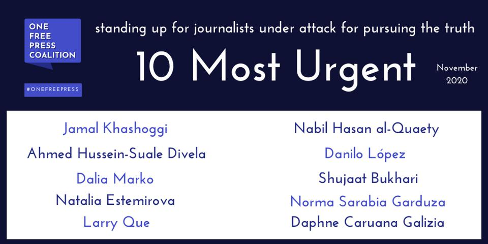 One Free Press Coalition November 2020 ″10 Most Urgent″ List