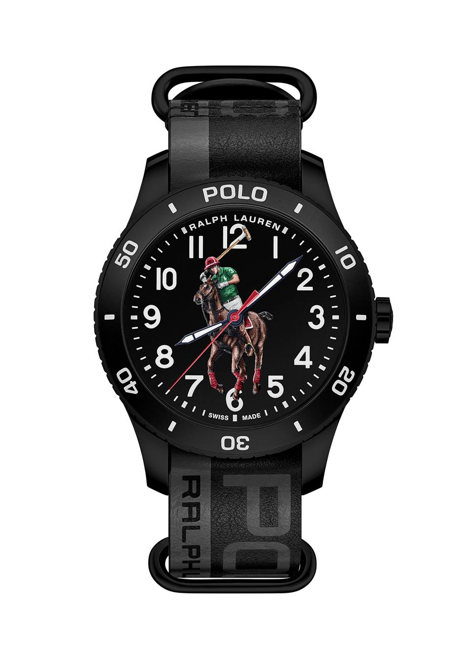 Ralph Lauren Polo Watch in a black PVD-coated stainless steel case