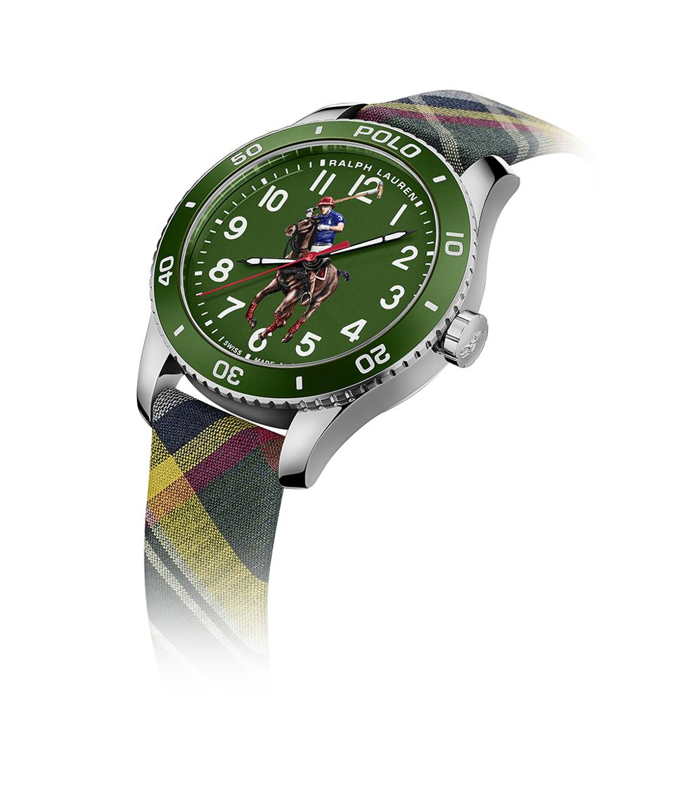Ralph Lauren Polo Watch in green with a fashionable textile strap