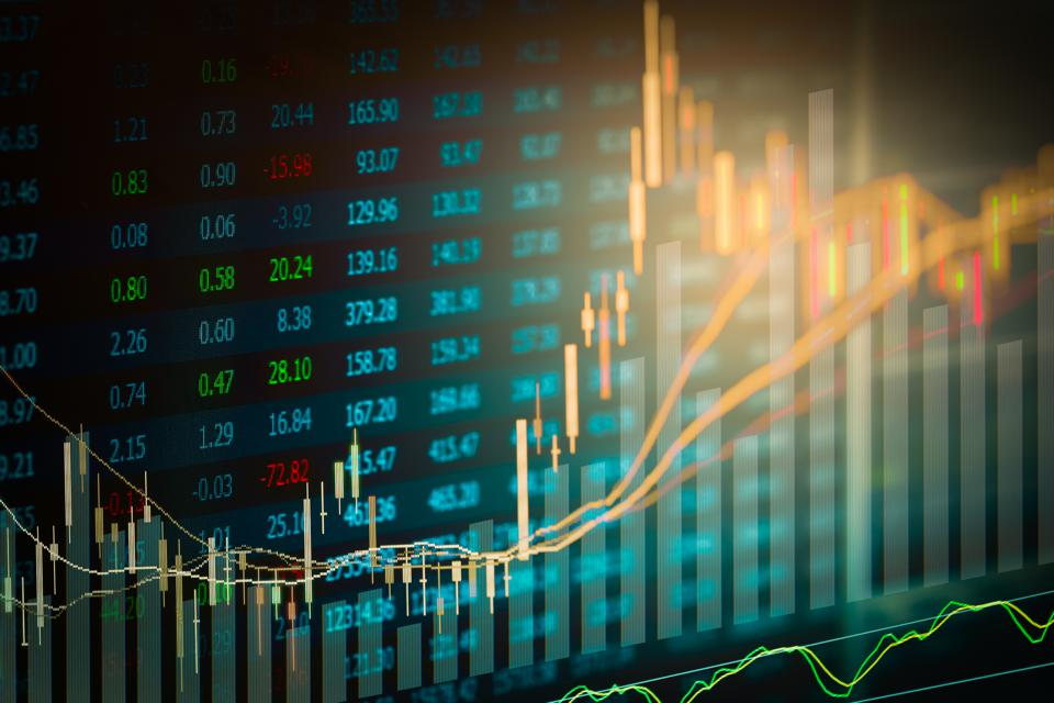 Stock market indicator and financial data view from LED