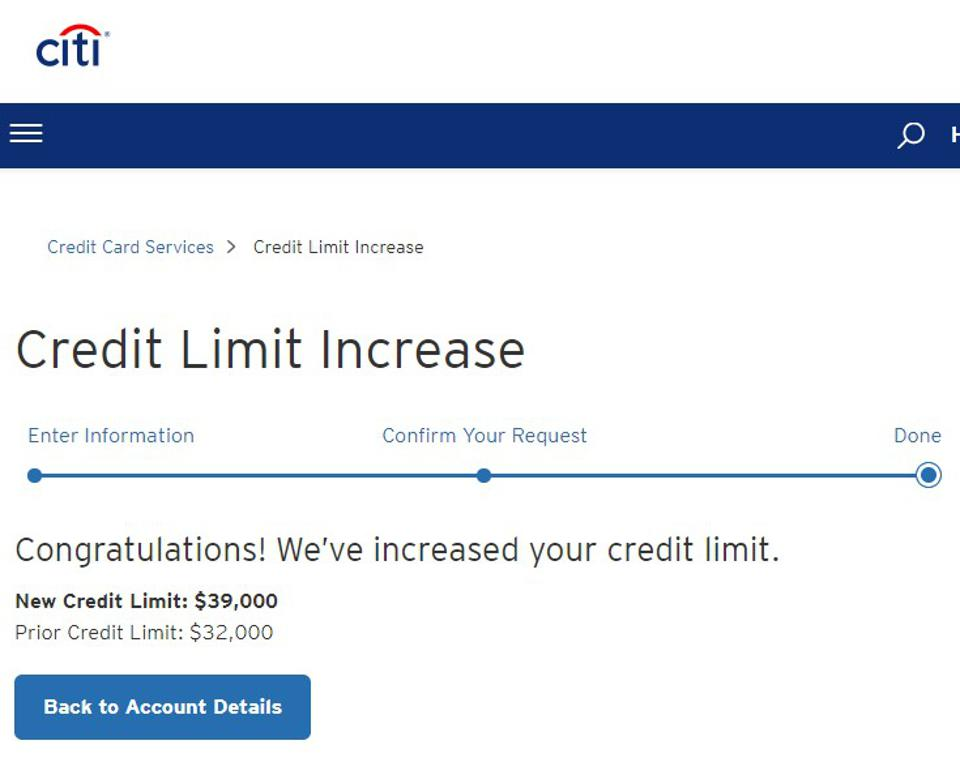 Citi website showing credit limit increase approval