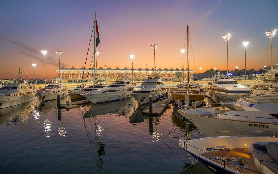 The AbuDabi GP races around the marina...at night.